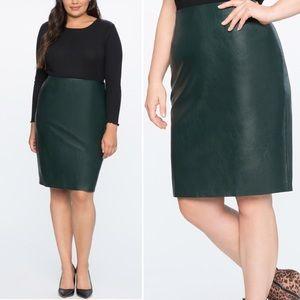 Eloquii forest green vegan leather pencil skirt